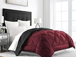 Sleep Restoration Down Alternative Comforter   Reversible   All Season Hotel Quality luxury Hypoallergenic Comforter   King Cal King   Burgundy Black