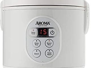 Aroma Housewares 8 Cup  Cooked   4 Cup UNCOOKED  Digital Rice Cooker and Food Steamer  ARC 914D White