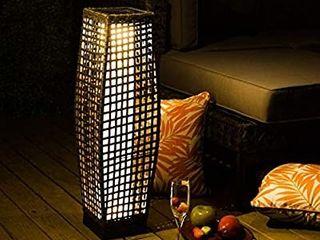 Outdoor Floor lamp  large Sized Solar Powered Rattan light  WeatheraResistant Rattan Floor lamp for Patio  Deck and Garden