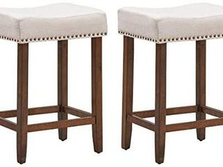 Set of 2 Saddle Stools  24 Inch Height Classical Counter Stools with Backless  Brass Nail Head Studs  Upholstered Sponge Cushion and Solid Rubber Wooden legs for living Room  Study  Beige
