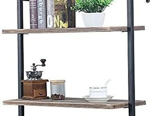 Industrial Metal and Wood Wall Shelf Unit Rustic Floating Wood Shelves Wall Mounted 24in Iron Real Reclaimed Wood