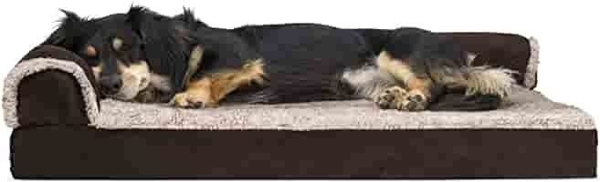 FurHaven Pet Dog Bed Deluxe Orthopedic Faux Fur   Suede l Shaped Chaise Couch Pet Bed for Dogs   Cats  Espresso  Medium