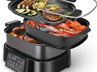 Programmable Slow Cooker with Countdown Timer  6 l 6 3 Quart Multi cooker with Steamer Tray  Grill Plate  Cooker pot 8 in 1 Preset Modes  Taylor Swoden