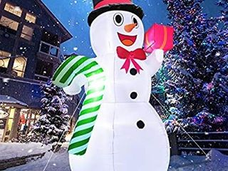 10 Feet Giant Christmas Inflatables Snowman Candy Cane Christmas Outdoor Decorations with lED lights Stakes Tethers