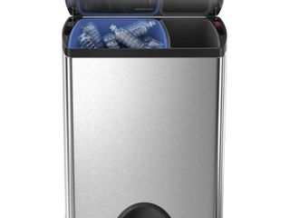 simplehuman 46 liter Brushed Stainless Steel Dual Recycler Step Trash Can