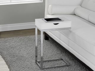 Monarch Accent Table Chrome Metal   Glossy White With A Drawer