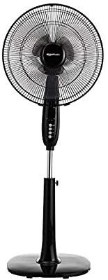 Amazon Basics Oscillating Dual Blade Standing Pedestal Fan with Remote   16 Inch