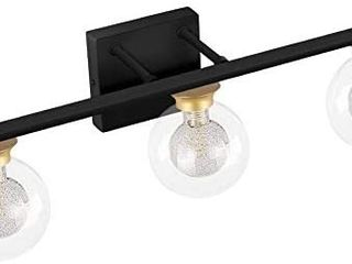 Brand  BDl 3 6 out of 5 stars 28Reviews BDl Bathroom Vanity light Fixtures New Black Gold 3 lights Clear Globe Glass Shade Modern Wall Bar Sconce Over Mirror   2 GlOBES ARE BROKEN