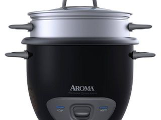 Aroma 6 Cup Dishwasher Safe   Non Stick Pot Style Black Cooker   Food Steamer with Glass lid  4 Piece