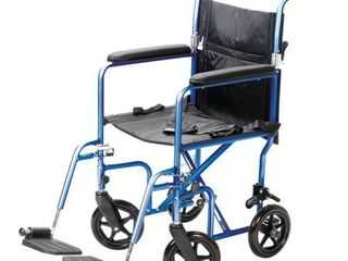 Carex Steel Transport Wheelchair with 19 inch Seat  Folding Back  and Swing away Footrests  Blue