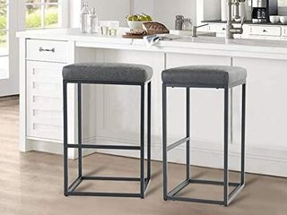 AlPHA HOME 30  Bar Stools Bar Height Bar Chair with Footrest Pu leather Backless Kitchen Dining Cafe Chair with Thick Cushion   Sturdy Chromed Metal Steel Frame Base for Indoor Outdoor Grey