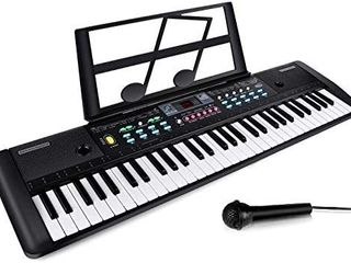 61 Keys Keyboard Piano  Electronic Digital Piano with Built In Speaker  Microphone  Sheet Stand and Power Supply  Portable Keyboard Gift Teaching Toy for Beginners
