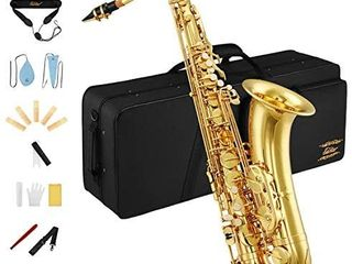 Eastar Student Tenor Saxophone Sax B Flat TS a Gold lacquer Beginner Full Kit With Carrying Sax Case Mouthpiece Straps Reeds Stand Cork Grease