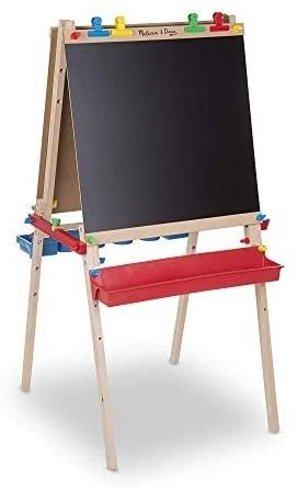 Melissa   Doug Deluxe Standing Art Easel   Dry Erase Board  Chalkboard  Paper Roller   MISSING FRAME