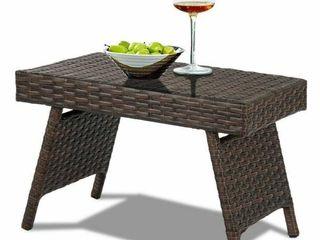 Folding PE Rattan Wicker Outdoor Coffee Table Patio Garden Furniture Brown