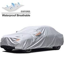 GUNHYI Oxford Car Covers Waterproof Windproof All Weather for Automobile  Snow Sun Rain UV Protective Outdoor  Fit Sedan  length 160 175 Inch