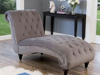 Abbyson Felice Grey Tufted Velvet Chaise