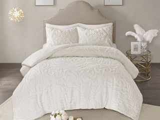 Madison Park Virginia Tufted Cotton Chenille Medallion Comforter Set Ivory King Cal King