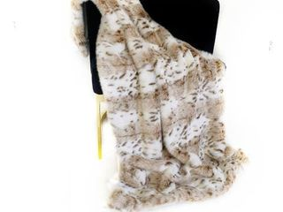 Plutus Brown  Beige leopard Fur Faux Fur luxury Throw Blanket
