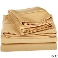 Superior Egyptian Cotton 1500 Thread Count Solid Deep Pocket Bed Sheet Set California King Gold