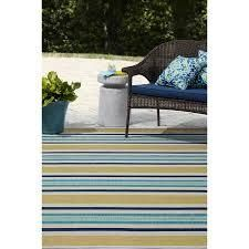 allen   roth Outdoor Collection 5 x 8 Teal Indoor Outdoor Stripe Coastal Area Rug