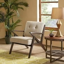 Ink and Ivy Tan Wood Frame lounge Chair
