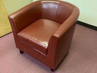Red leather barrel chair