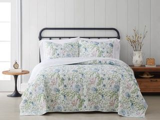 Cottage Classics Field Floral 3 Piece Quilt Set   Full Queen