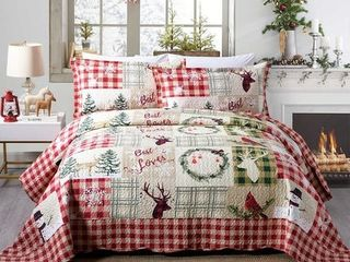 Rustic Patchwork Christmas Quilt Bedspread Set   Queen