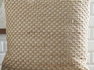 The Curated Nomad Beige Honeycomb Design Throw Pillows  QTY 2