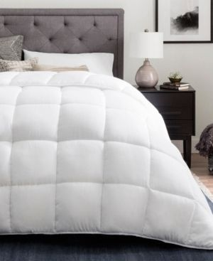Brookside Down Alternative Reversible Quilted Comforter with Duvet Tabs Oversized Queen White