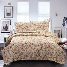 Plaid Striped Patchwork Quilt Bedding Set Reversible Coverlet  Bedspread Rustic Floral King