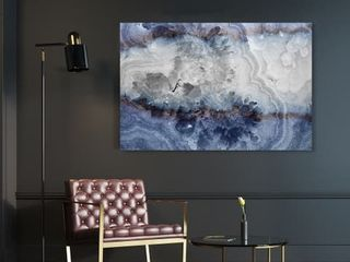 Oliver Gal  lunar Agate  Abstract Wall Art Canvas Print   Blue  Gray 45 x30