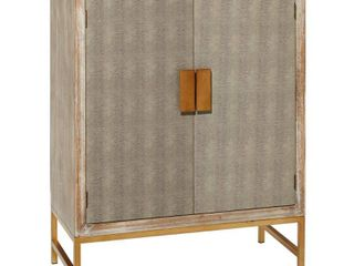 lITTON lANE 31 5 in  x 39 5 in  Distressed White Washed Rectangular Wood Cabinet with Gold Metal Base and Faux Shagreen Doors