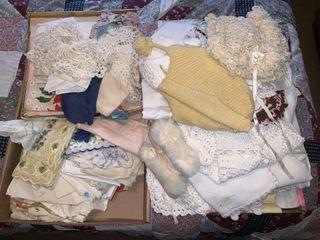Doilies  Hand Stitched Handkerchiefs  Bonnets  Etc
