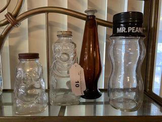 Vintage Glass Piggy Bank  Grapette Bottle  etc