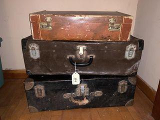2 Metal Vintage Suitcases  1 Cardboard Suitcase