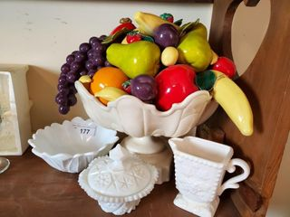 Milkglass Pedestal Bowl  Candy Dish  etc