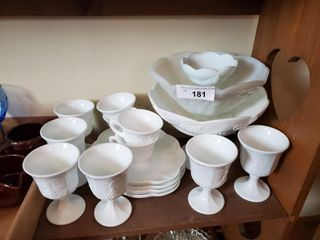 Milk Glass Cups  Bowls  Saucers  etc