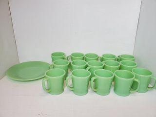 Vintage Fire King Jadeite Mugs   Asst  Glassware