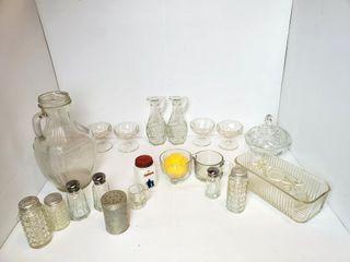 Vintage Glassware  Shakers  etc