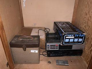 Vinyl records  2 VHS players  APF TV Fun Games