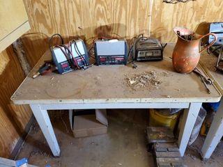 Metal Workbench  Enamel Pitcher  Battery Chargers