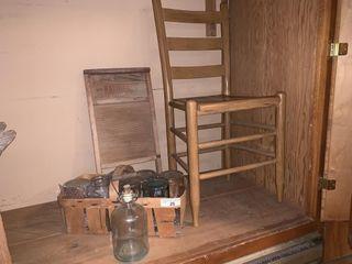 Vintage Glass Jars  Washboard  Chair