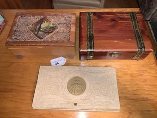 3 Wooden Boxes and Contents