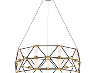 Modern Forms PD 73932 Black   Aged Brass labyrinth 18 light 31  Wide led Chandelier