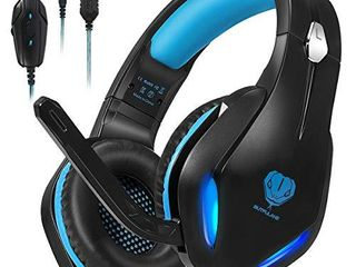 Stynice Gaming Headset for Xbox  PC  PS4  PS5  laptop  Crystal Clear Sound Computer Gamer Headset with Noise Canceling Mic and lED light   lightweight Comfortable Over Ear Headphones  Blue