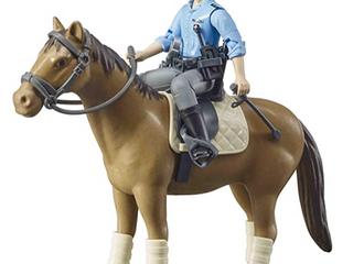 BRUDER BWORlD BROWN SADDlE HORSE WITH A MAN