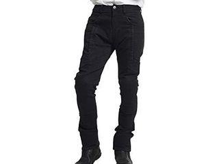 MAXlER JEAN Biker Jeans for men   Slim Straight Fit Motorcycle Riding Pants  2095 Black  Size 30