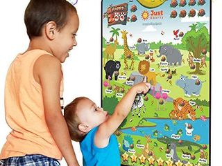 Just Smarty Happy Zoo Interactive Poster for 3 5 Year Old Boys and Girls  Best Animal and Counting Educational Toy for Toddlers with Music  Animal Sounds and Games  Daycare  Preschool Activity Toy